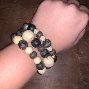 Handcrafted Set of Bracelets w/ Wooden Beads